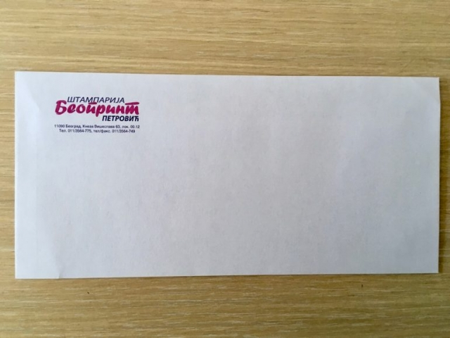 Ameriken koverta bez prozora, sa štampom - Beoprint štamparija Beograd